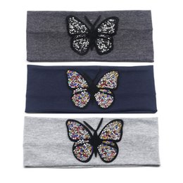 head bandages 2019 - Women's Butterfly Headbands Summer Fashion Rhinestone Stretchy Head Band for Girls Lady Cotton Solid Bandage Hair A