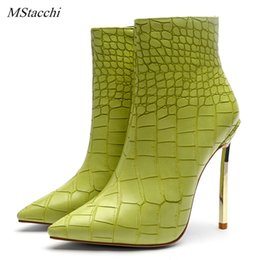 $enCountryForm.capitalKeyWord Australia - Mstacchi Autumn Winter Shoes For Ladies Green Stone Pattern Sexy High Heels Stilettos Ankle Boots Fashion Snake Skin Shoes Women
