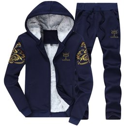 $enCountryForm.capitalKeyWord Australia - New winter men's hooded plus velvet jacket loose casual sports suit, personalized fashion printing men's youth winter warm suit