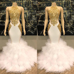 Princess White Evening Dress Australia - White and Gold Prom Dresses 2019 New Cascading Tiered Ruffles Lace Up Princess Sweet 16 Prom Ball Gowns Evening Dress Custom Made BC1515