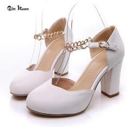 $enCountryForm.capitalKeyWord NZ - Dress Xingdeng Women Round Toe Sweet High Heel Pumps Shoes Plus Size 32-43 Thick Heel Mental Chain Ankle Buckle Stilettos Qkp0023a