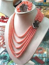 red quartz beads Australia - PINK CORAL BEAD NECKLACE BRACELET SET style>new jewelry Quartz Crystal Women Wedding