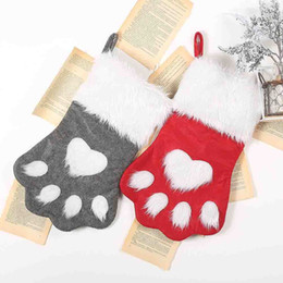 stockings packs 2019 - Christmas Gift Bag Cookie Candy Package Gifts bag Animal Dog Xmas Stocking for Candy Home Party Packing Decoration disco