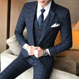 Boutique Dresses Suits Australia - Three-piece Male Formal Business Plaids Suit for Men's Fashion Boutique Plaid Wedding Dress Suit ( Jacket + Vest + Pants )