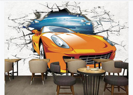 theme wallpaper NZ - Customized 3d mural wallpaper photo wall paper Car theme sports car breaking wall 3D car culture wall background mural wallpaper