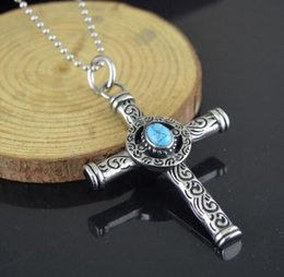 Mens Titanium Cross Chain Australia - Punk Vintage Turquoise Cross Necklace Men Titanium Steel Hip Hop Pendant Necklaces Mens Domineering Collar Trendy Gothic Jewelry New