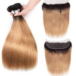 Mixed Length Brazilian Hair Bundles UK - Ombre Bundles With Frontal Closure T1B 27 Brazilian Hair Weave 3 Bundles With Frontal 13x4 ear to ear Lace Frontal Closure 4pcs lot