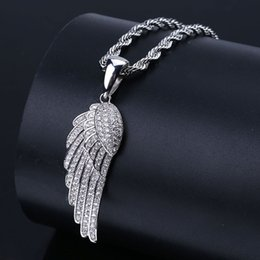 Wholesale Ice Angel Wing Pendant Necklace Hip Hop Jewelry New Products Micro Inlay Zircon Pendant Men and Women Gift Necklace