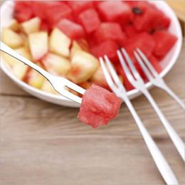 venda por atacado Aço inoxidável Sobremesa Bolo da fruta Forks Louça de vida para Party Supplies talheres ferramenta da cozinha 12,8 * 0,9 centímetros XD23328