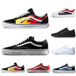 Black Blue Flame Australia - Flames Original old skool Running shoes black blue red Classic mens women canvas sneakers fashion Cool Skateboarding casual shoes 36-44