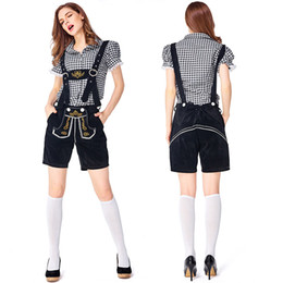 $enCountryForm.capitalKeyWord Australia - Woman Oktoberfest Lederhosen with Suspenders Hat Costumes Set For Man Party Cosplay Waiter Farmer Game Costumes Size S-L