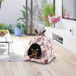 beds tents Australia - Hoomall Dog Soft Bed Mat Kennel Puppy Triangle Tent Winter Warm Bed Nest Printed Plush Cloth House for Small Medium Pet Dogs