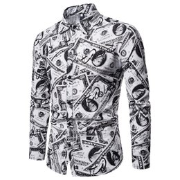 Discount plus size button down blouses - Feitong Men's Spring Casual Shirts Male Slim Fit Shirts Printed Long Sleeve Button Shirt Tops Blouse camisas hombre
