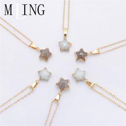 $enCountryForm.capitalKeyWord NZ - MLING Fashion Design Gold Pendant Necklace Vintage Natural Stone Star Necklace For Women