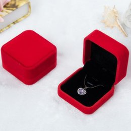 Velvet Box Packaging Australia - 7*7*4cm red velvet jewelry box necklace box pendant gift box Jewelry Packaging Display more color for choice