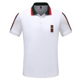 Discount stitch bead - Summer new lapel short-sleeved men Red strip stitching beads cotton casual T-shirt High-grade solid color