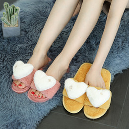 hair bonded 2019 - Hair and Slippers Women Autumn Children 2019 New Style Fashion Home Anti Slip Thick Bottom Love Heart Cotton Slippers S0