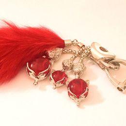 $enCountryForm.capitalKeyWord Australia - Car Key Pack Crystal Hanging Car Key Keyboard Red Steel Jade Smart Silver Fox Hair Tail Hanging