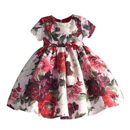 $enCountryForm.capitalKeyWord Australia - Fashion Floral Girls Party Dress Red Cotton Kids Children Dresses with Sleeve Golden Crown Bow Girl Clothing for Party WeddingMX190912
