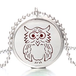 Perfume Diffuser Necklace Australia - New Aroma Diffuser Necklace Owl Designs Open Lockets Pendant Perfume Essential Oil Aromatherapy Locket Necklace With Pads