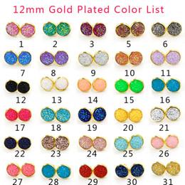 30 colores de Lujo druzy Stud Pendientes Bling Ronda en forma de Corazón de Resina de piedra Cuelga Oro Plata Pendientes Para las mujeres Señoras Joyería de Moda a Granel en venta