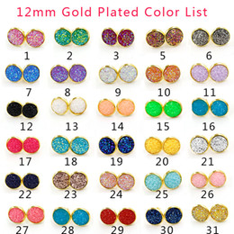 c166b1925af9 Lujo 12 MM Ronda druzy Stud Pendientes 30 color de piedra Natural chapado  en oro pendientes para las mujeres para mujer regalo de joyería