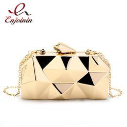 $enCountryForm.capitalKeyWord Canada - Fashion Handbags Women Metal Clutches Top Quality Hexagon Mini Party Black Evening Purse Silver Bags Gold Box Clutch 3 Colors Y190124