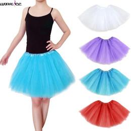 Red Tutu Women Australia - Free shipping 3 layers Girls Womens Tulle Skirt Women Pleated Short Mini Tutu Skirts Lolita Jupe Dance Skirt Summer Saias Jupe