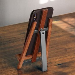 $enCountryForm.capitalKeyWord Australia - Real Wood Cell Phone Stand Adjustable Handmade Rosewood+Metal holder universal for all Mobile Smart Phones Tablets Desktop Stand