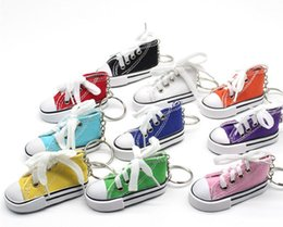 tennis shoes wholesale Australia - wholesale Mini Canvas Shoes Sneaker Tennis Keychain Creative Key Ring Chain Simulation Sport Shoes Funny Keyring Pendant Gift SN109