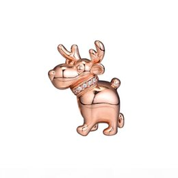 reindeer charms Australia - 2018 Winter 925 Sterling Silver Jewelry Reindeer Rose Gold Charm Beads Fits Pandora Bracelets Necklace For Women Jewelry Making