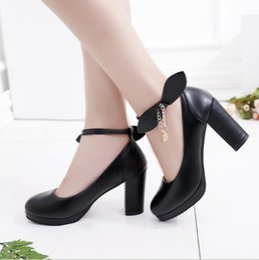 4e5adb27f0d 2018 Fashion Summer Women Shoes Mary Jane Ladies High Heels Bowknot Round  Head Single Shoes Thick Heel Pumps Lady Shoes W755