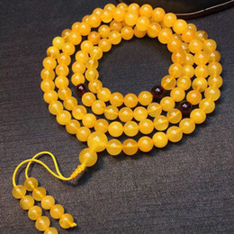 Natural Amber Bracelets 3mm-7mm Round Beads Total 108pieces Multi-layer Twine Bracelet Yellow Amber Women Buddhistic Jewelry on Sale