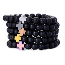 imitation stone bangles Australia - Fashionable Hematite Charm Cross Bracelet Trendy Black Natural Stone 8mm Beads Stretch Bracelets Bangles Friendship Jewelry