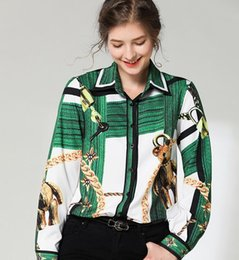 Ladies Neck Chains Australia - Chain Bear printed green white long sleeve women blouses with single breasted long sleeve lapel neck ladies shirts fashion printed top