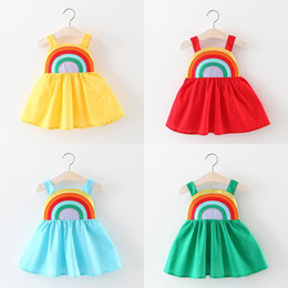 Wholesale girls opening clothes for sale - Group buy Kids Baby Girl Summer Sleeveless Rainbow Striped Sling Dress Casual Sundress Clothes Suspender Summer Beach Soft Open Back Dresses M1406
