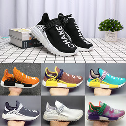 RubbeR tied online shopping - PW Human Race Hu Trail X Men Running Shoes Pharrell Williams Nerd Black White Cream Tie Dye Sun Glow Womens Trainers Sports Sneakers