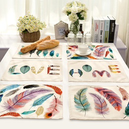 $enCountryForm.capitalKeyWord Australia - 1pcs Creative Modern Style Cotton Linen Placemat Colored Feather Print Table Mat for Dinner Kitchen Table Decor 7 Styles