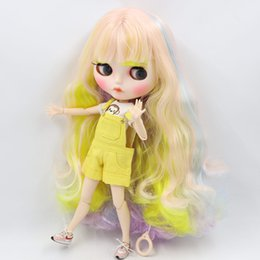 $enCountryForm.capitalKeyWord Australia - wholesale Nude Blyth Doll For No.708400660052352(330) colorful hair Carved lips Mate face with eyebrows Joint body 1 6bjd