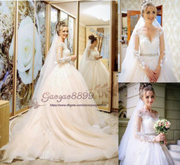 custom made veils NZ - 2019 spring country A-Line wedding dresses sheer Neck with Long Sleeves crystal sash Princess custom made with veil Bridal Dresses Plus Size