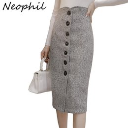 $enCountryForm.capitalKeyWord Australia - Neophil High Waist Woolen Button Pencil Midi Skirts Office Ladies Office Elegant Grey 2019 Winter Wool Wrap Skirts Faldas S1738 MX190730