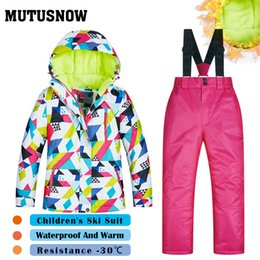 Children Winter Ski Suit Australia - MUTUSNOW 2019 Girls Ski Suit Children's Brands High Quality Skiwear Windproof Waterproof Snow Pants Warm Child Winter Snowboard Suit CSJ