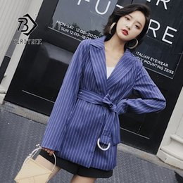 hid design 2019 - 2019 Chic Autumn New Women's Blazer Office Lady Casual Striped Elegance Style Notched Sashes Bow Tie Design Hot Sal