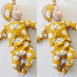 Toddlers Christmas Onesies Australia - Ins Infant Baby Boys Girls Rompers Kids Long Sleeve Cartoon Cloud Onesies Toddlers Babies Climb Clothes Children Rompers with Headband