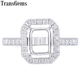 $enCountryForm.capitalKeyWord Australia - Transgems 14k White Gold Halo Type Ring Semi Mount Without A 7*9mm Emerald Gemstone But With Moissanite Accents Customized Ring Y190726