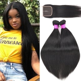 unprocessed brazilian curly hair closure 2019 - 9A Brazilian Virgin Human Hair Weave Bundles With Lace Closure Unprocessed Straight Water Curly Hair 4Bundles Extension