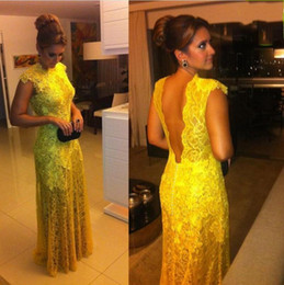 Backless Lace Light Yellow Dress Australia - 2019 New Sexy Sheath Yellow Lace Backless Evening Dresses with Cap Sleeve Appliques Sheer Boat Neck Floor Length Prom Gowns