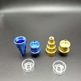 Glasses Female Titanium Australia - Colorful 6 in 1 domeless Titanium Nail With Real Quartz Dish 10mm 14mm18mm Male and Female Joint GR2 Titanium Nails for Glass Bongs