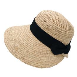 $enCountryForm.capitalKeyWord Australia - woman top quality raffia straw hats summer sun protection beach holiday bow natural color free shipping