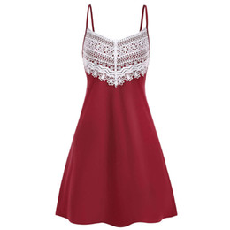 Chinese  Plus Size Summer Party Dress Women 2019 Vintage Crochet Lace Backless Mini Camisole Sleeveless Spaghetti Strap Women Dress manufacturers